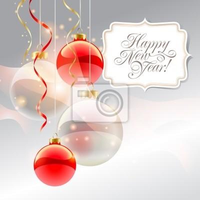 Tarjeta de navidad con adornos de color rojo y la inscripción ...