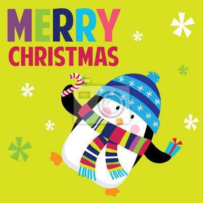 Tarjeta De Navidad Con El Pingüino Lindo Conveniente Para La