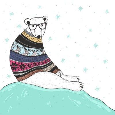 Cuadro Tarjeta de Navidad con inconformista lindo oso polar. Oso con el justo de la isla