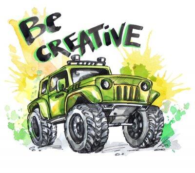Cuadro Tarjeta dibujada mano con el coche y las letras grandes. Las palabras sean creativas. Acuarela multicolor ilustración. Active el deporte loco. Transporte.