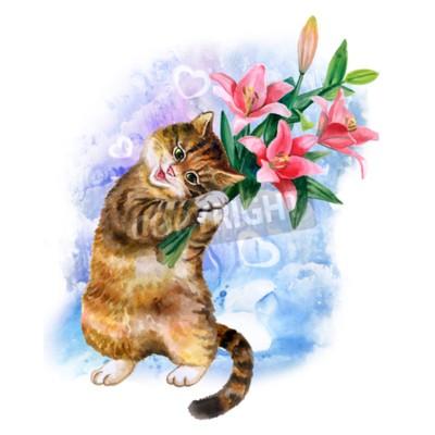 Cuadro Tarjeta linda de la acuarela con el gato y las flores aislados en fondo azul con los corazones. Gatito encantador con los lirios. Ideal para el día de Valentin, cumpleaños, cartel de la invitación de