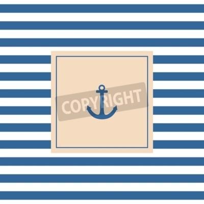 Cuadro Tarjeta o invitación náutica del vector con el fondo en colores pastel del ancla y las rayas blancas azules
