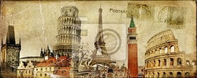 tarjeta postal de época - Vacaciones ruropean
