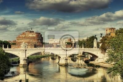 Tarjeta postal de Roma, el Castillo de San Angelo, puente San Angelo