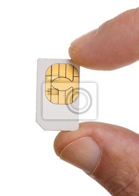 Tarjeta SIM en una mano aisladas sobre fondo blanco