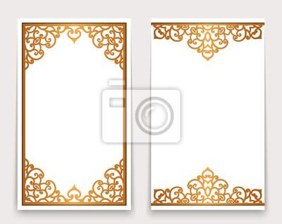 Tarjetas doradas vintage con bordes ornamentados pinturas para la ...