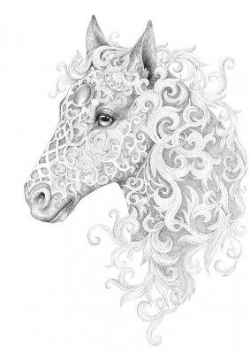 Cuadro Tattoo, beautiful horse head with a mane