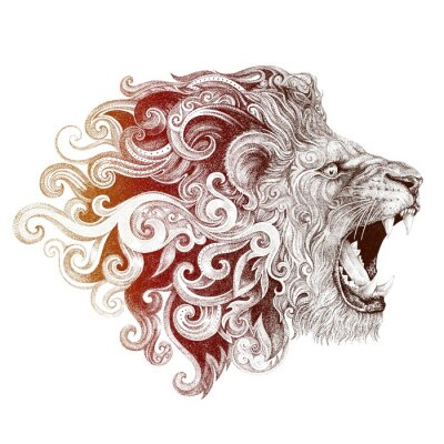 Cuadro Tatuaje, cabeza, sonriendo, león