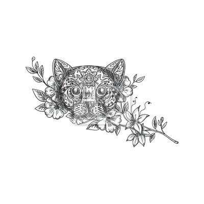 Tatuaje De La Flor Del Jazmín De La Cabeza Del Gato Pinturas Para La