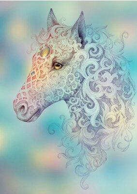 Cuadro Tatuaje, hermosa cabeza de caballo con una melena