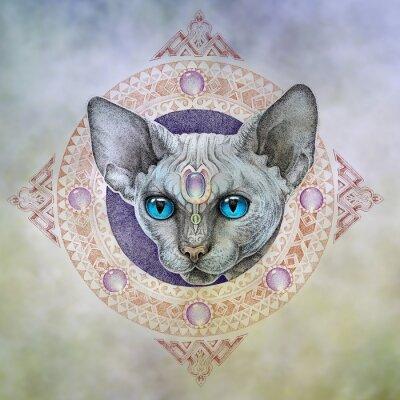 Cuadro Tatuaje, los gatos cabeza en el círculo