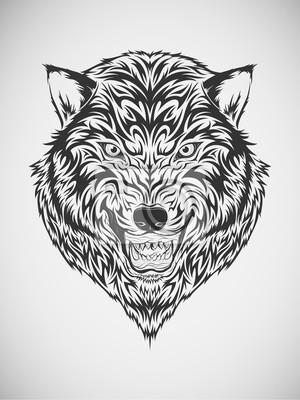 Tatuaje Tribal De La Cabeza Del Lobo Pinturas Para La Pared
