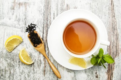 Cuadro Taza de té con limón y menta