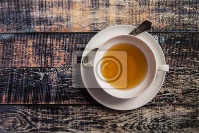 Cuadro Taza de té en el fondo de madera
