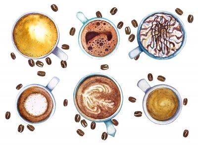 Cuadro Tazas de la acuarela de café, aisladas en el fondo blanco con los granos de café, visión superior.