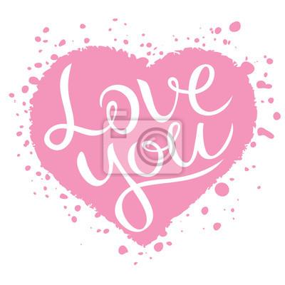 Te Amo Letras En Forma De Corazón Rosa Love Confesión Ilustración