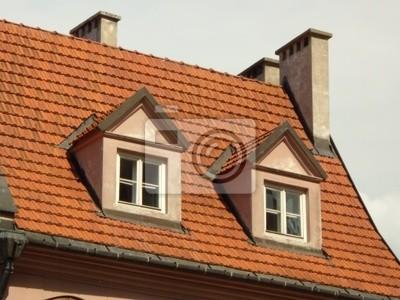Techo de tejas, dos buhardillas y chimeneas blancas pinturas para ...