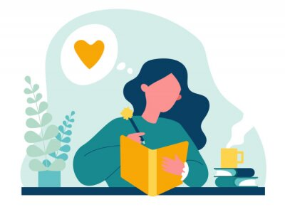 Cuadro Teenage girl writing diary or journal. Happy young woman reading book and taking notes with pencil. Vector illustration for journal, author, student, teenager in love concept