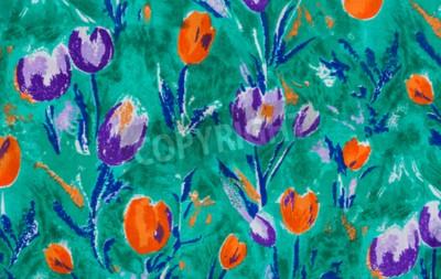 Cuadro Tela de impresión de tulipanes close up fondo.