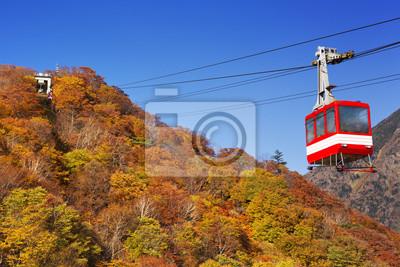 Teleférico en otoño, cerca de Nikko, Japón