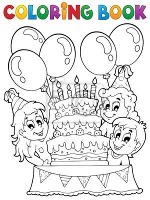 Tema de la fiesta del libro para colorear niños 2 pinturas para la ...