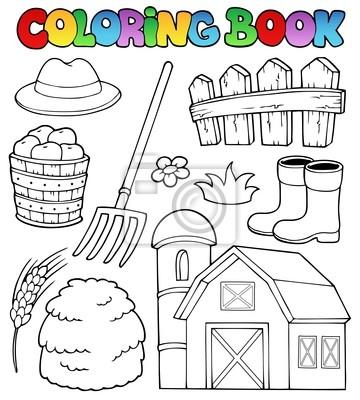 Tema de la granja del libro de colorante 2 pinturas para la pared ...