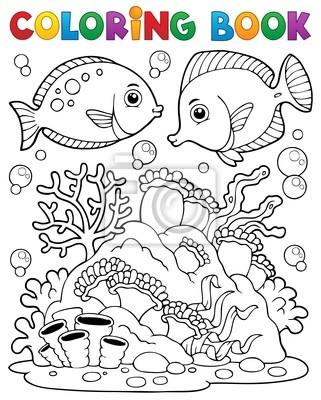 Tema de los arrecifes de coral libro para colorear 1 pinturas para ...