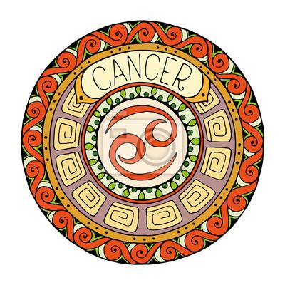 Tema De Los Signos Del Zodiaco Mandala Con La Muestra Del Zodiaco Pinturas Para La Pared Cuadros Escorpión Virgo Piscis Myloview Es