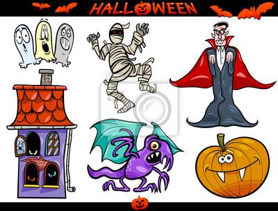Temas de dibujos animados de halloween set pinturas para la pared ...