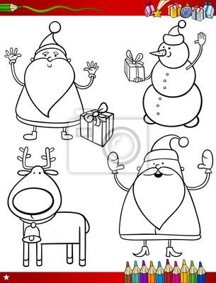 Temas de dibujos animados de navidad para colorear página pinturas ...