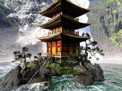Cuadro Templo budista en las montañas rocosas