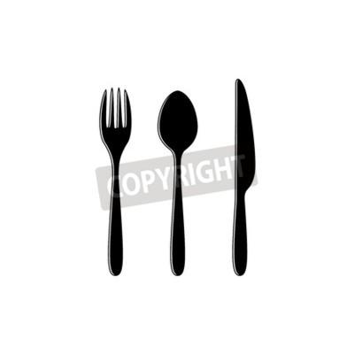 Tenedor Cuchara Y Cuchillo Silueta Negro Símbolos