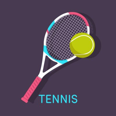 Cuadro Tenis, raqueta, pelota de color marrón de fondo