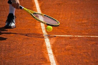 Cuadro Terrain de tenis, raquetas et balle jaune