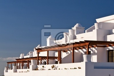 Terraza Casas Con Balcones Sobre Un Cielo Azul Pinturas