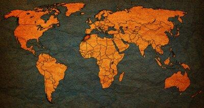 Cuadro Territorio de marruecos en el mapa del mundo