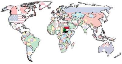 Cuadro Territorio de sudán en el mapa del mundo