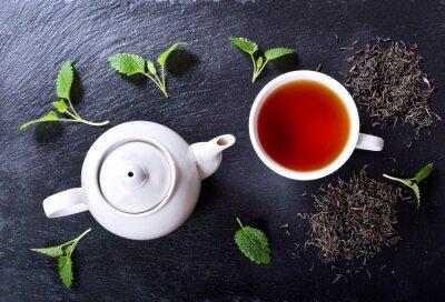 Cuadro Tetera y taza de té con menta