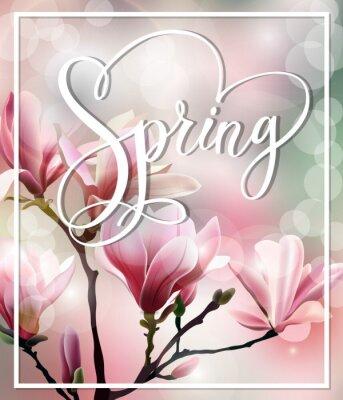 Cuadro Texto de la primavera con el brunch del flor de Magnolia con efecto borroso. Fondo de la primavera. Plantilla Vector.