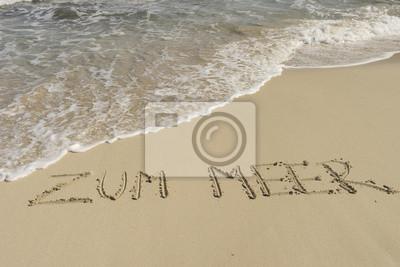 Texto MEER ZUM am Sandstrand mit Wellen