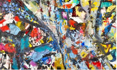 Cuadro Textura, fondo, patrón. Pintura pintada por un artista. Textura abstracta del fondo del arte, pintura de acrílico en lona. Siluetas de personas, temas orientales,