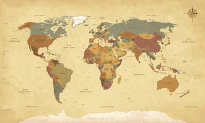 Cuadro Textura vintage mapa del mundo - Inglés / EE.UU. Etiquetas - Vector CMYK