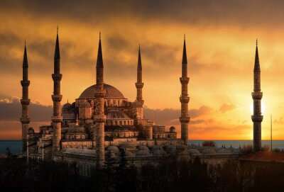 Cuadro The Blue Mosque in Istanbul during sunset