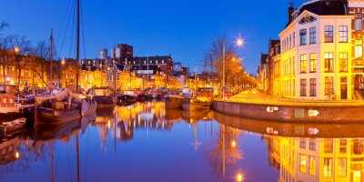 The city of Groningen, The Netherlands at night