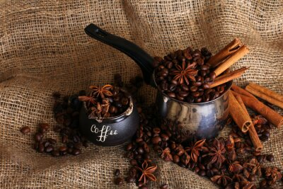 Cuadro the coffee with cinnamon and star anise on the sacking