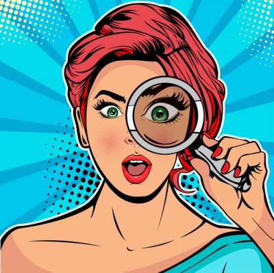 Cuadro The woman is a detective looking through magnifying glass search. Vector illustration in pop art retro comics style