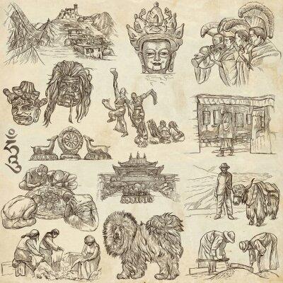 Cuadro Tíbet. Viajes - Fotos de la vida. Dibujos a mano.