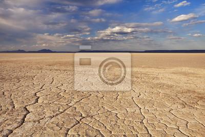 Tierra agrietada en remoto desierto de Alvord, Oregon, EE.UU.
