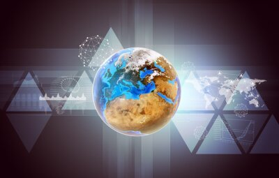 Cuadro Tierra con mapa del mundo