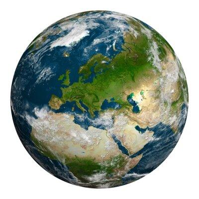 Cuadro Tierra del planeta con las nubes. Europa, parte de África y Asia.